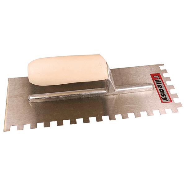 For applying adhesive when fixing floor tiles.