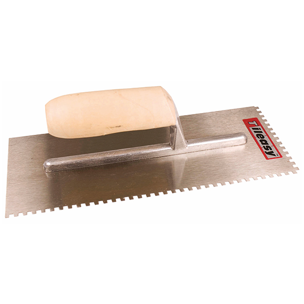 For applying adhesive when fixing small wall tiles.