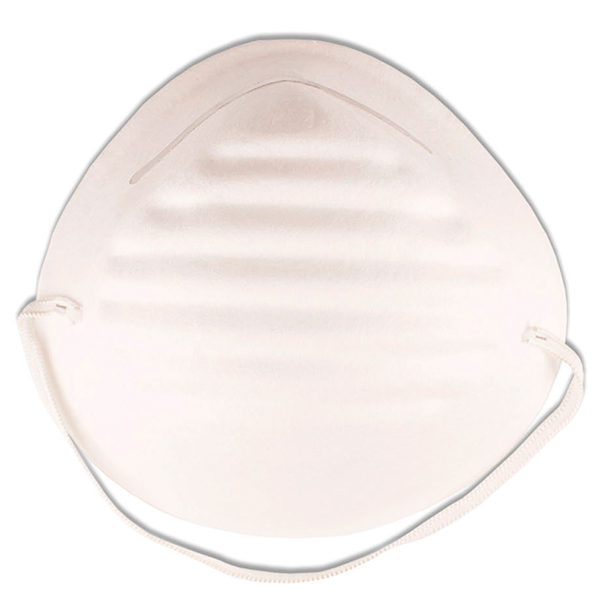 A light weight mask for protection against dust inhalation when cutting or fixing tiles.