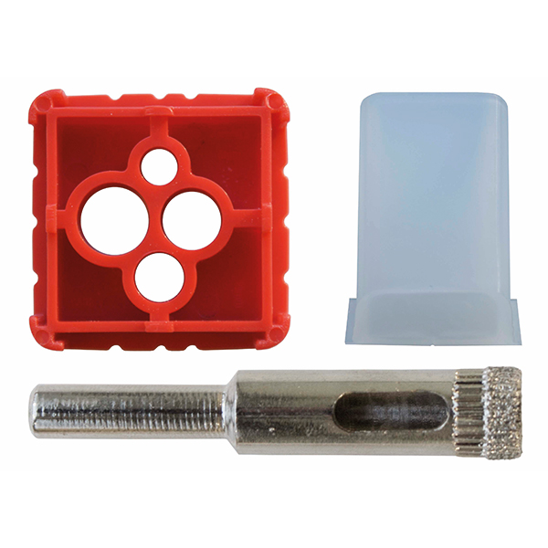 Prevents diamond drill bits from over heating whilst allowing accurate drilling into wall and floor tiles of a hard construction.