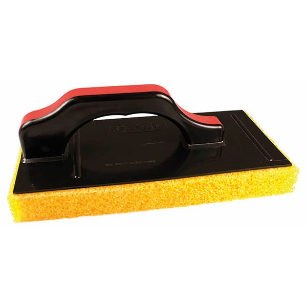 Plastic handle with firm segmented sponge, for use with WB23. For cleaning epoxy grout residue from wall and floor tiles.