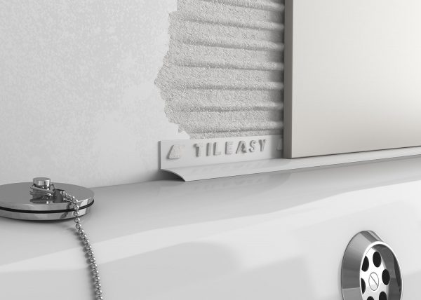 Contract bath seal creates a neat transition from tiled surface to bath edge.