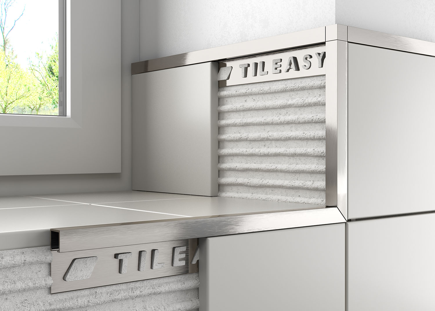 Metal Box tile trim features a straight profile which has been designed to give a contemporary finish to any modern tile installation.