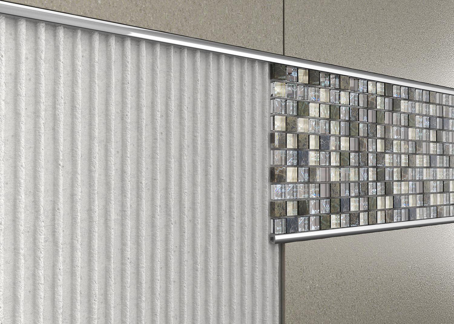 Pencil and Listello bars will add style and decoration to plain tiled areas. Perfect for making a feature with mosaic tiles.