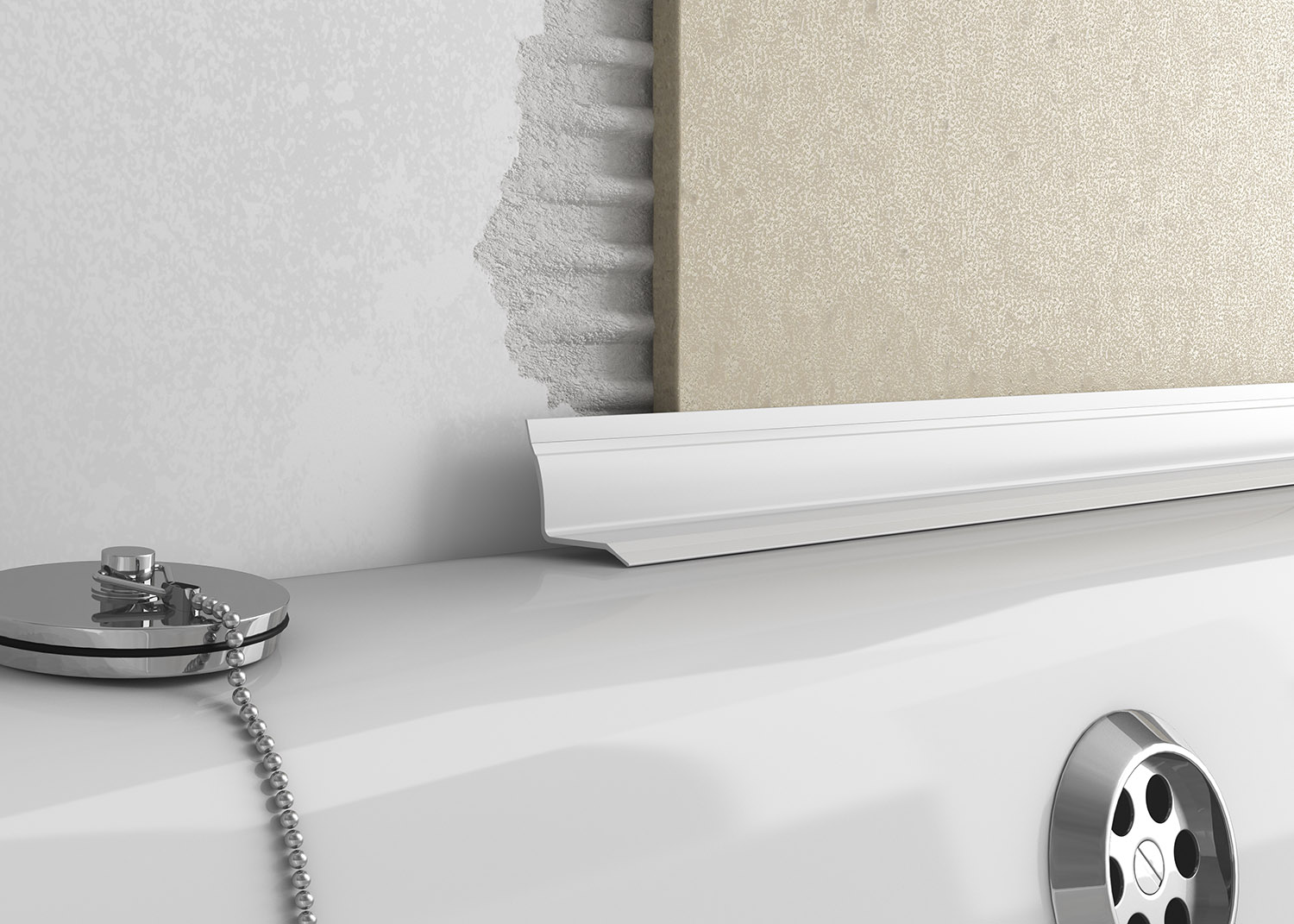 Overtile bath seal is a decorative finish between a tiled wall and a bath surface.