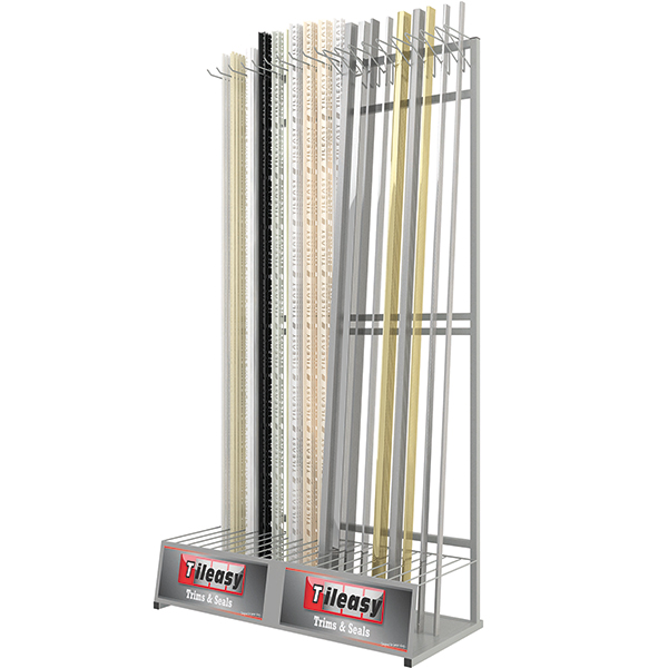 Display for all Tileasy tile trims and listello bars and pencils.