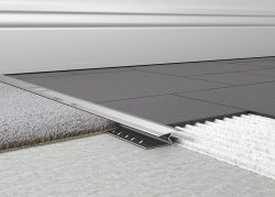 Knock down carpet to tile trim has been designed to give a neat transition between most hard flooring and carpets. An easy solution, with a knock down feature to accommodate small height variations.