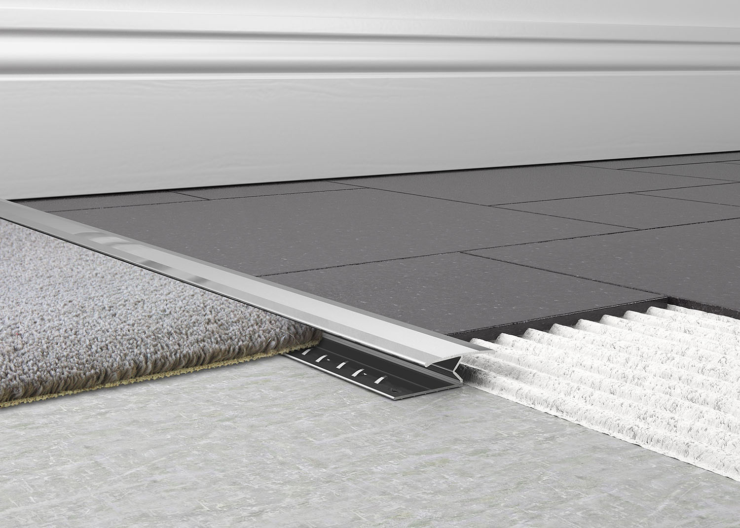 Carpet to tile trim tileasy knock down carpet to tile trim has been designed to give a neat transition between most dailygadgetfo Gallery