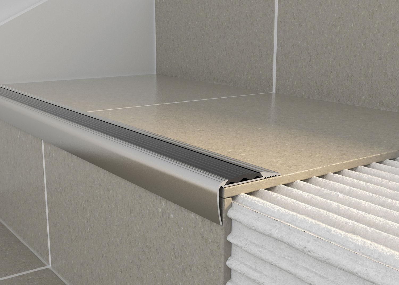 Tileasy Chrome Matt Over Tile Stair Edging