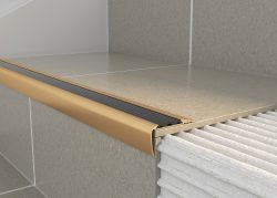 Tileasy Matt Gold Over Tile Stair Edging