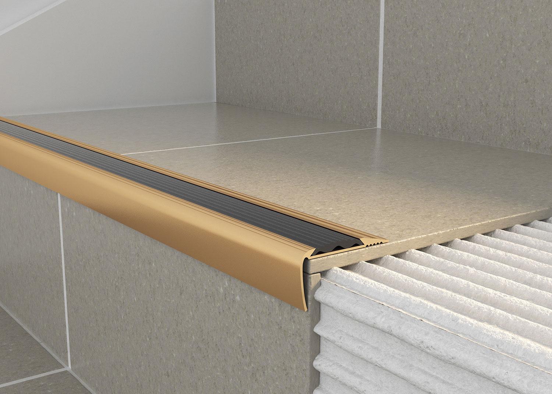 Tileasy Matt Gold Over Tile Stair Edging